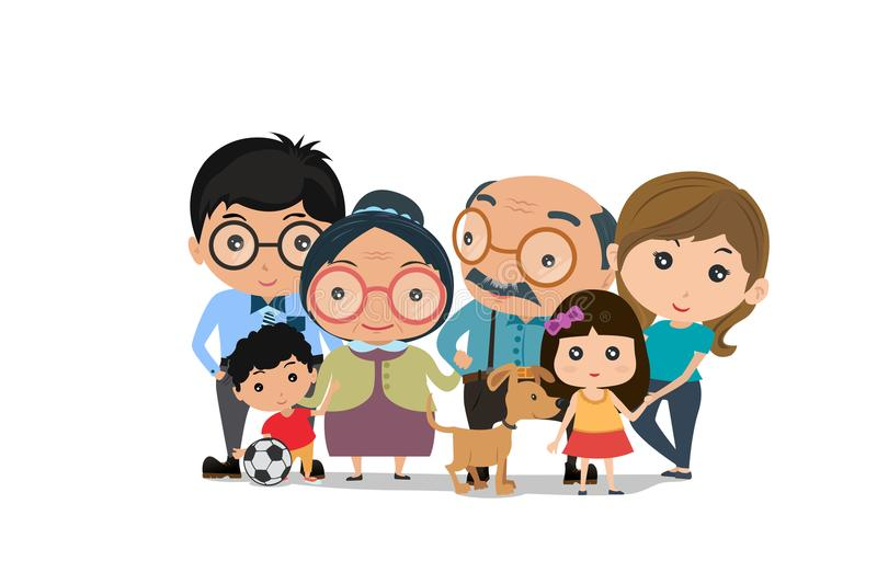 Big family happy together. smiling family portrait. Mother, father daughter, son, grandparents. Vector illustration of a flat. Design stock illustration