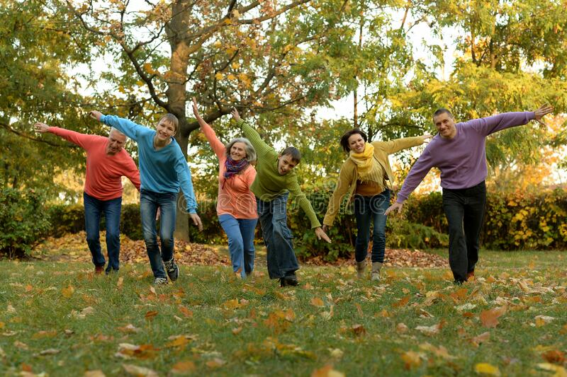 Big family having fun together in autumnal park. Portrait of big family having fun together in autumnal park royalty free stock photo