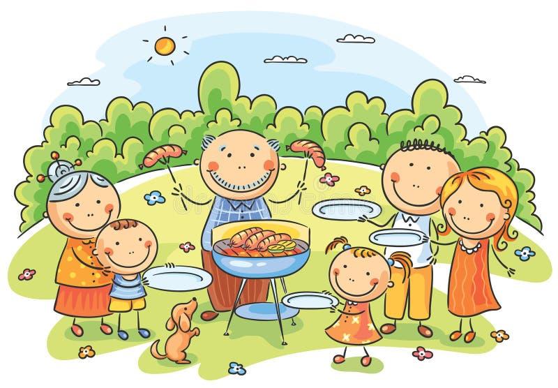 Big family having picnic stock illustration
