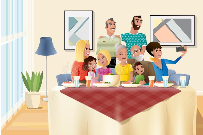 Big Family Holiday Dinner at Home Cartoon Vector. Big Family Holiday Dinner Cartoon Vector with Happy Senior Couple Sitting at Dinner Table with Closest stock illustration