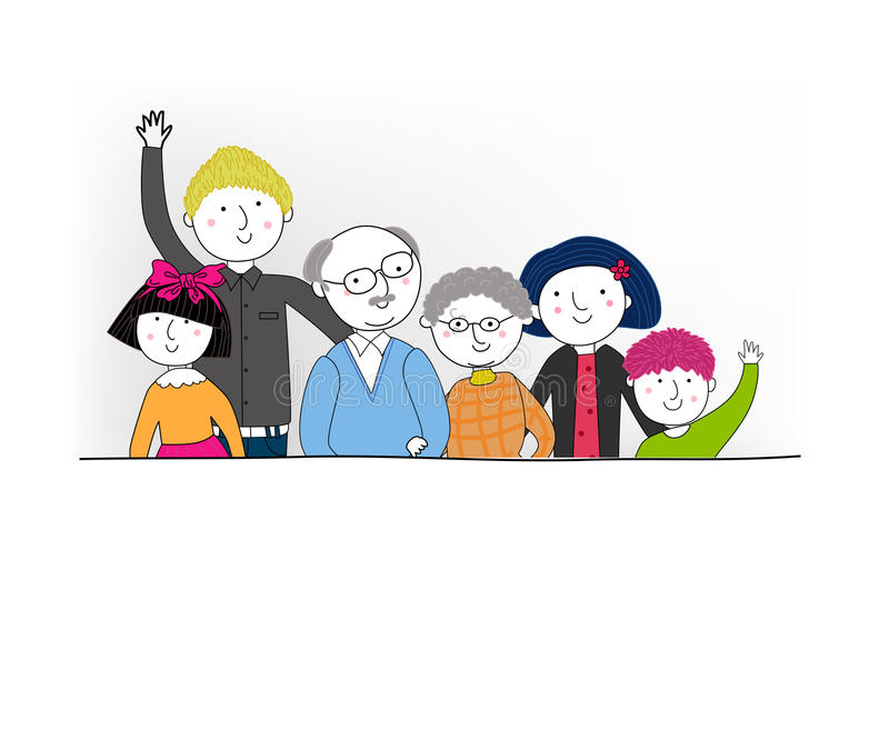 A big family. Illustration of a big family stock illustration