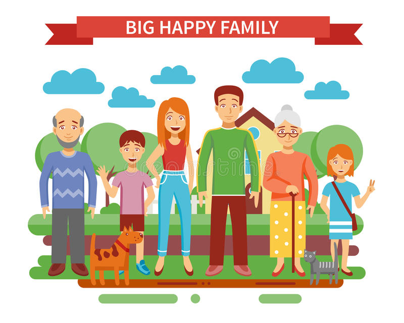 Big Family Illustration. Big happy family concept with parents and grandparents flat vector illustration stock illustration
