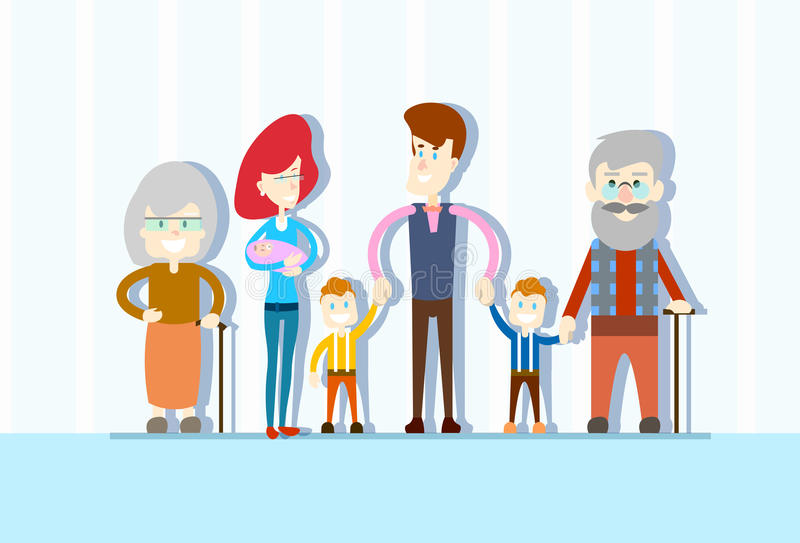 Big Family Kids Baby Twins Parents Grandparents Generation. Flat Vector Illustration royalty free illustration