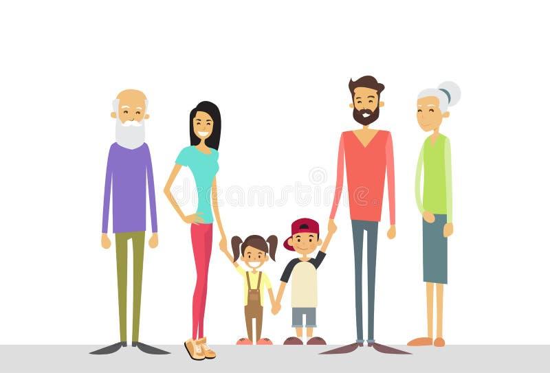 Big Family Kids Parents Grandparents Generation. Flat Vector Illustration vector illustration