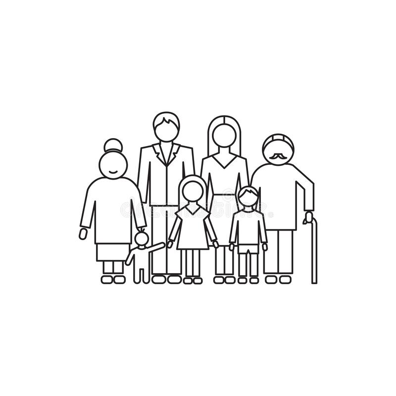 Big family line icon. Vector thin line icon, big family with children parents and grandparents. Metaphor of happy family relations. Black on white isolated stock illustration