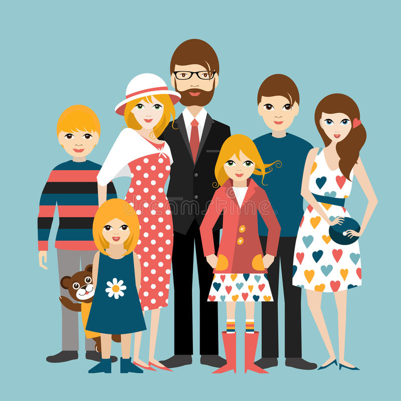 Big family with many children. Man and woman in love, relationship. Flat vector royalty free illustration