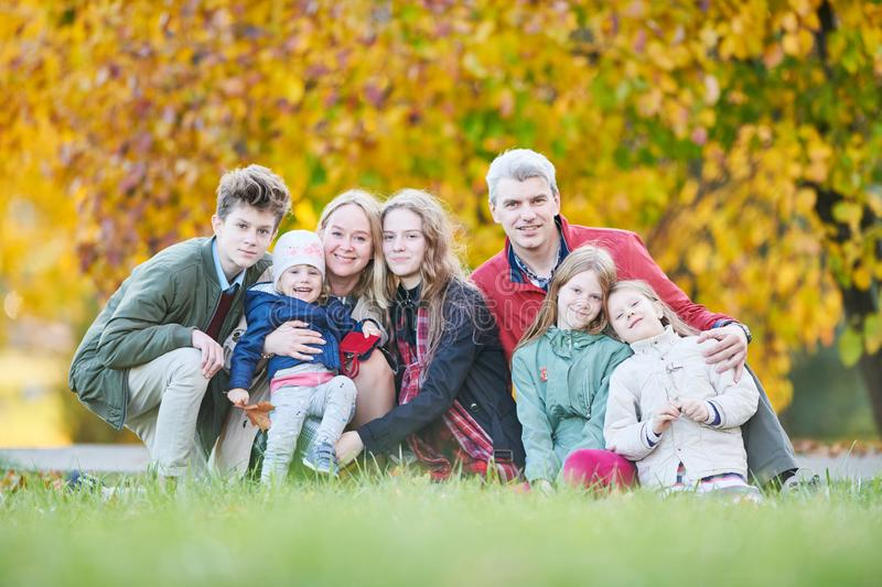 Big family with many children outdoors royalty free stock photos
