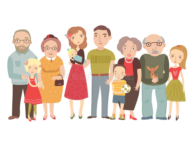 Big family , mom, dad , kids, grandparents . One big happy family. mom dad grandpa and grandma with children stock illustration