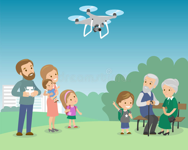 Big family with mother father grandmother grandfather kids baby child set. Drone in the park quadrocopter vector. Illustration royalty free illustration