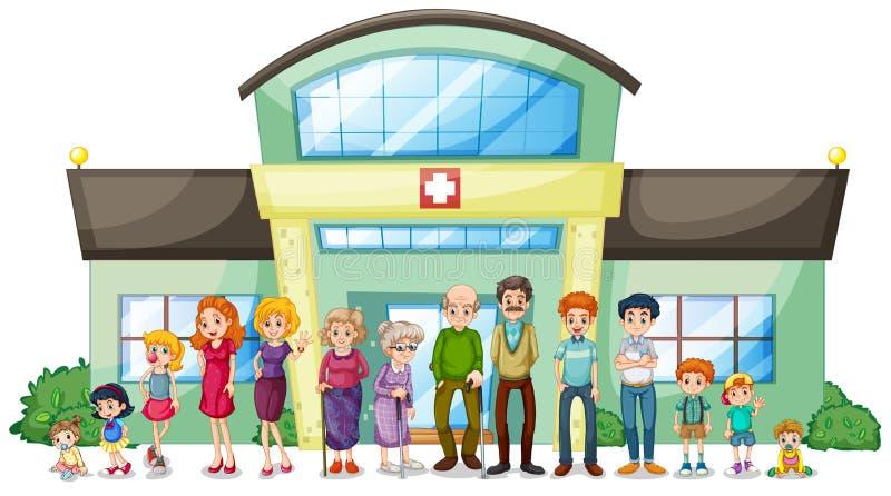 A big family outside the hospital. Illustration of a big family outside the hospital on a white background vector illustration