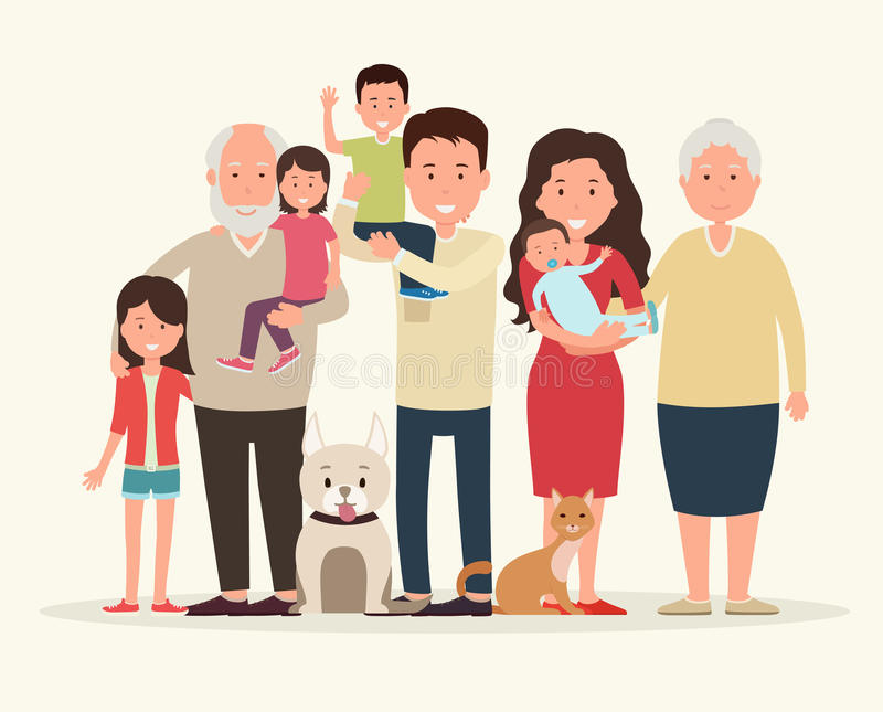 Big family. Parents and children. Big family. Parents and children, grandparent along with the animals royalty free illustration