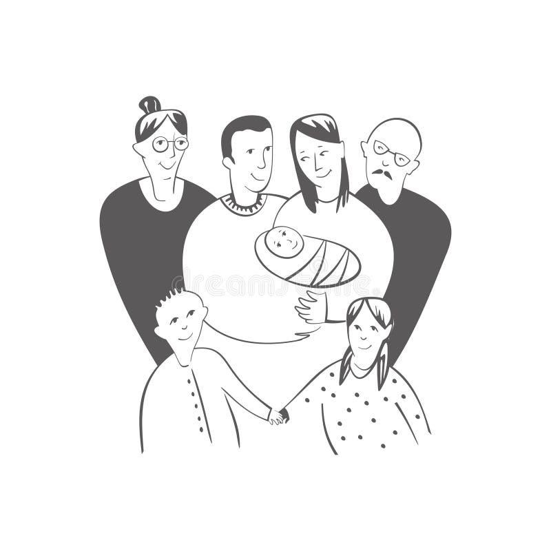 Big family stock illustration