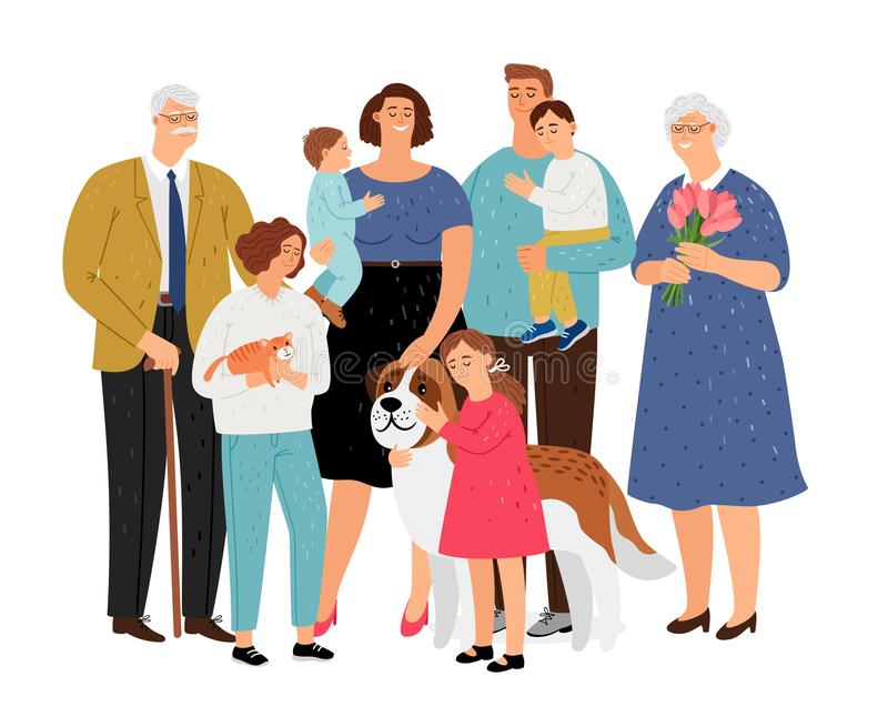Big family with pet. Big family. Father and mother, grandmother and grandfather, children and pet vector set stock illustration