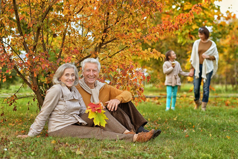Big family on picnic stock photography