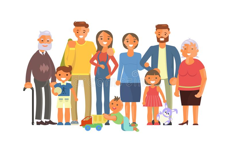 Big family portrait. Including kids, parents and grandparents. Cartoon characters isolated on white background. Vector illustration eps 10 royalty free illustration