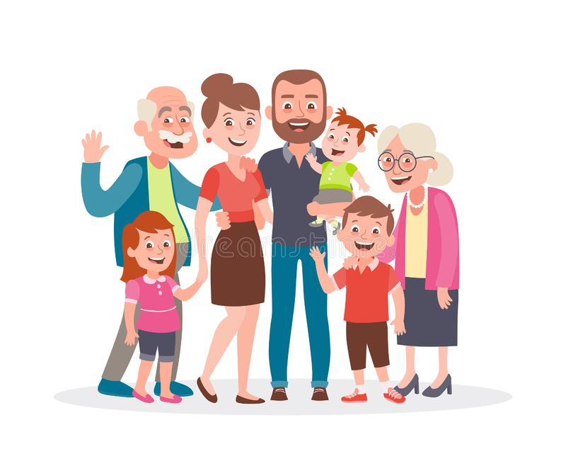 Big family portrait. Father, mother, three kids and two grandparents stock illustration