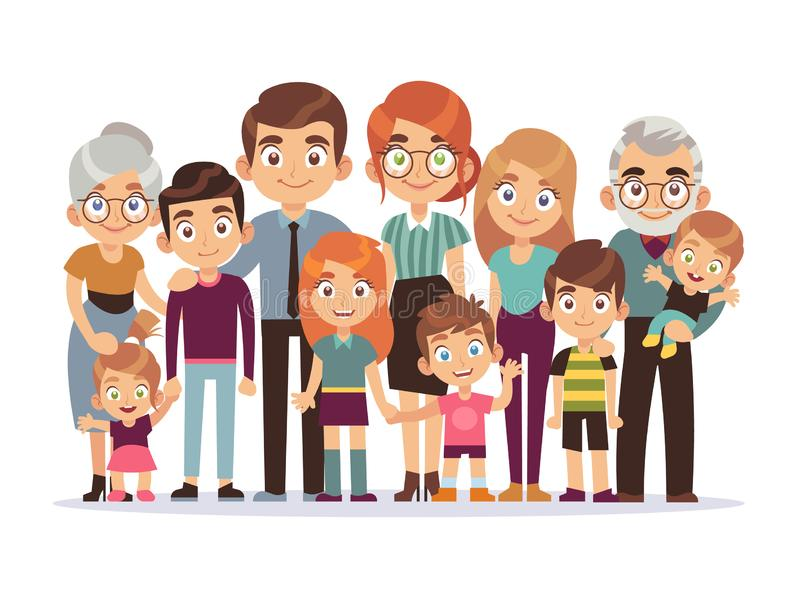 Big family portrait. Happy people character lifestyle mother father children grandparents teenagers kids dog, vector stock illustration