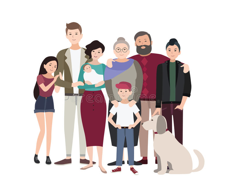 Big family portrait. Happy people with relatives. Colorful flat illustration. Big family portrait. Happy people with relatives. Colorful flat illustration stock illustration