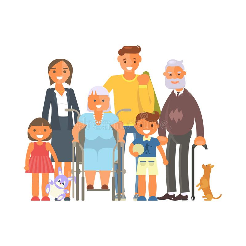 Big family portrait. Isolated on white background. Cartoon character group of people standing. Vector illustration eps 10 royalty free illustration