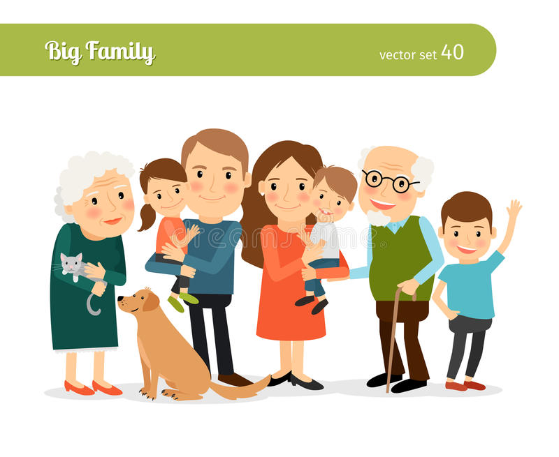 Big family portrait. Mom and Dad, grandparents, children, and a dog vector illustration