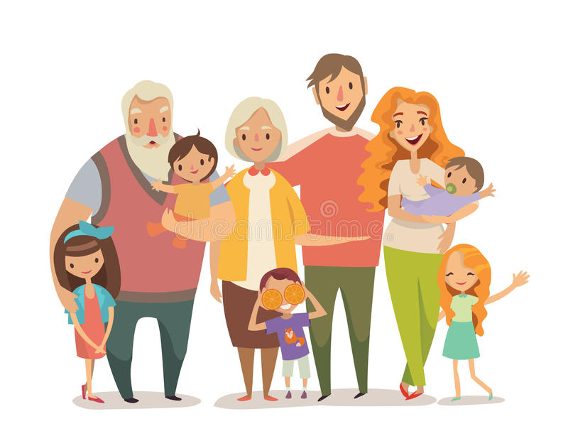 Big family portrait. Vector illusutration royalty free illustration