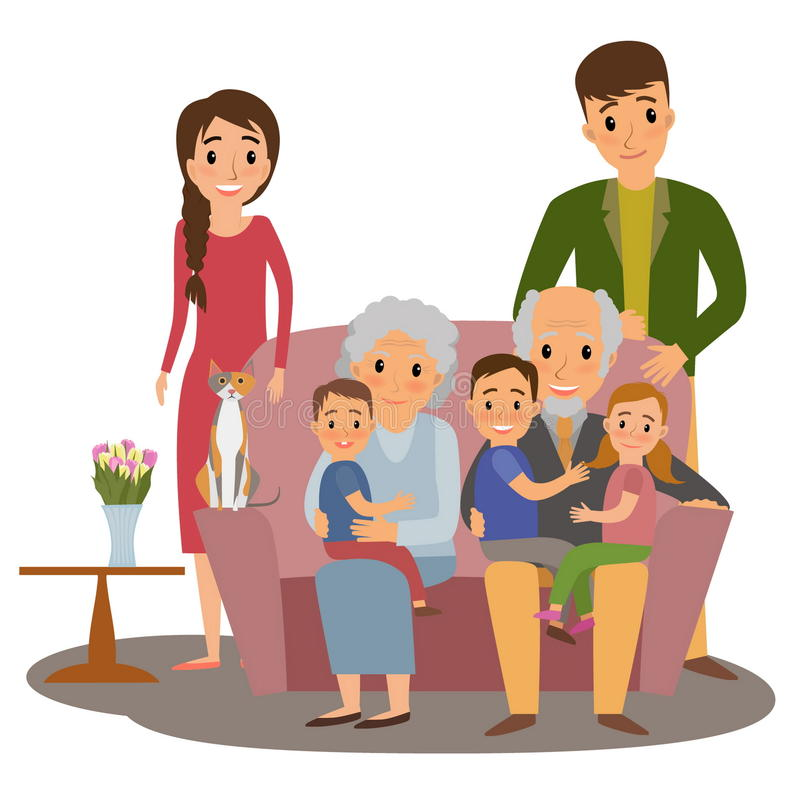 Big Family set. Big Family. Happy family whith grandchildrens, parents and grandparents sitting on the sofa whith cat vector illustration