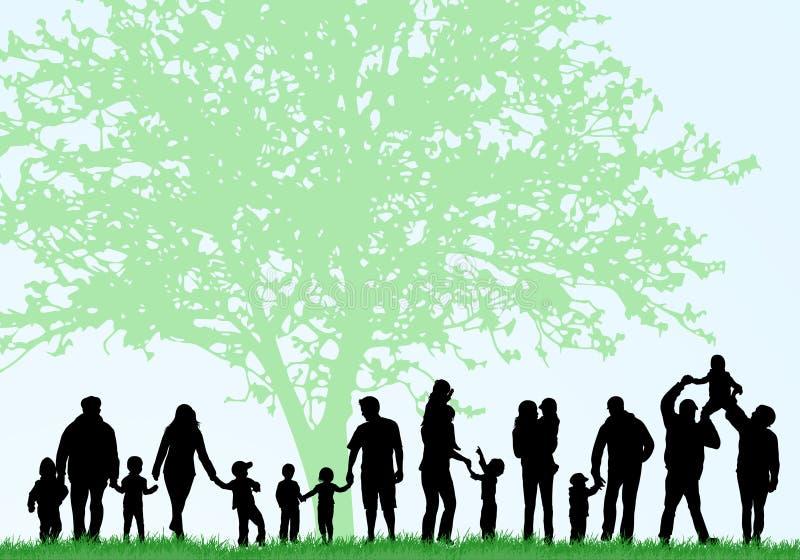 Big family silhouettes. Happy family stock illustration