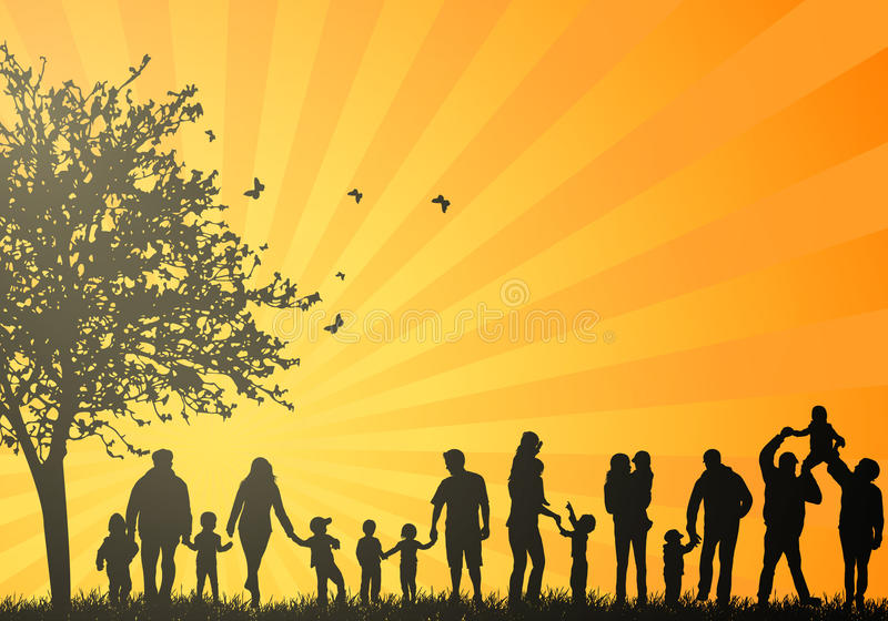 Big family silhouettes. Happy family vector illustration