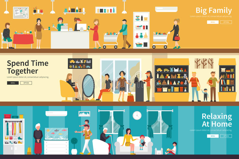 Big Family Spend Time Together Relaxing At Home flat interior outdoor concept web. Career Chart Fun vector illustration