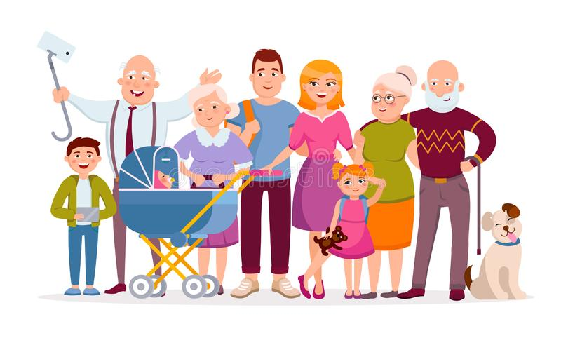 Big family standing together as a family portrait cartoon characters in vector flat design. Mother, father, children. Baby, grandparents, pet, huge set of stock illustration