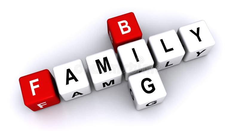 Big family. Text 'big family' inscribed on small cubes in uppercase letters and arranged crossword style with common letter 'i', white background stock illustration