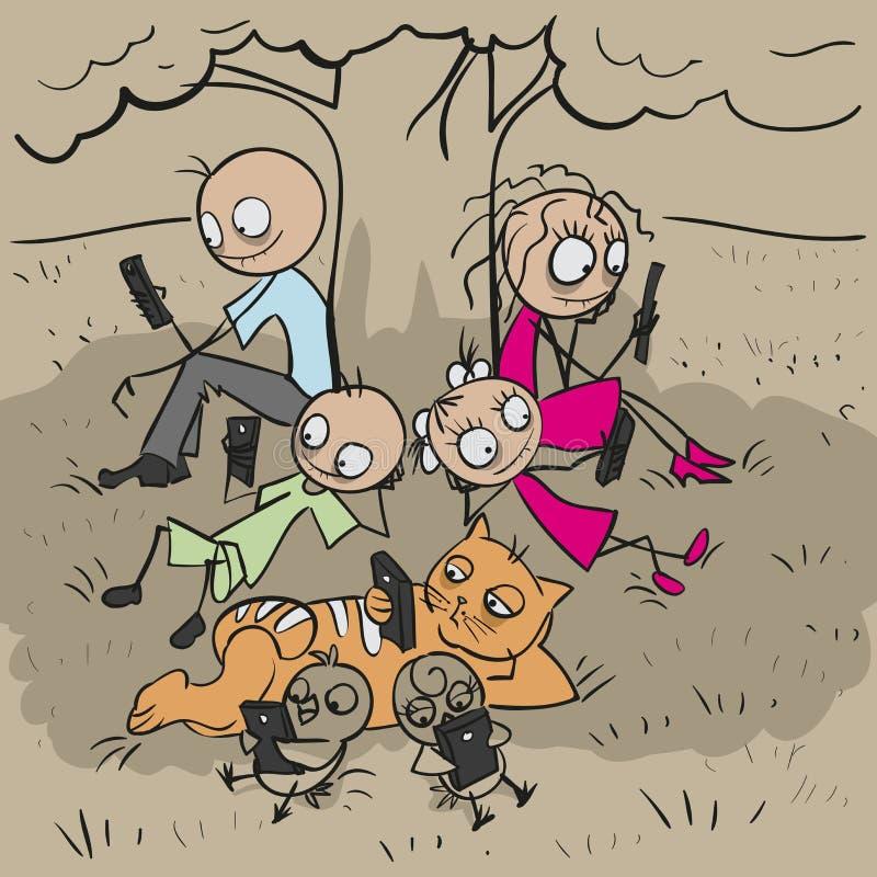 Big family under tree. Everyone looks at phone. Vector cartoon illustration vector illustration