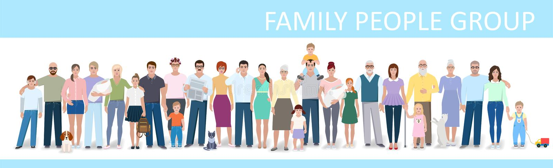 Big family, vector illustration. Big family, different people, vector illustration royalty free illustration