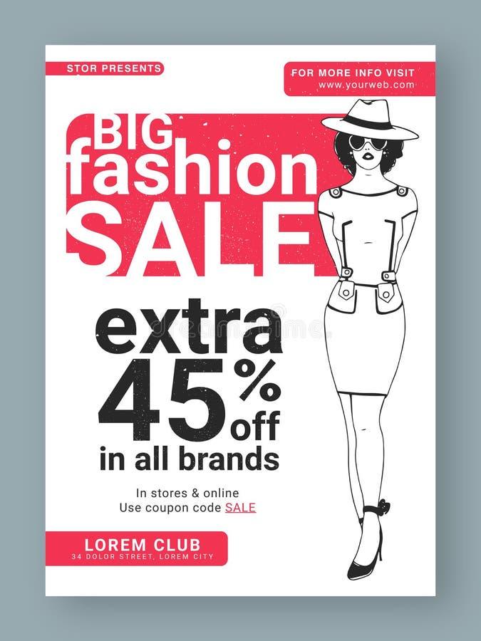Big Fashion Sale Poster, Banner or Flyer. vector illustration
