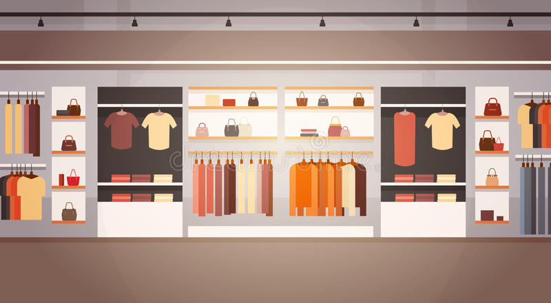 Big Fashion Shop Super Market Female Clothes Shopping Mall Interior Banner With Copy Space. Flat Vector Illustration stock illustration