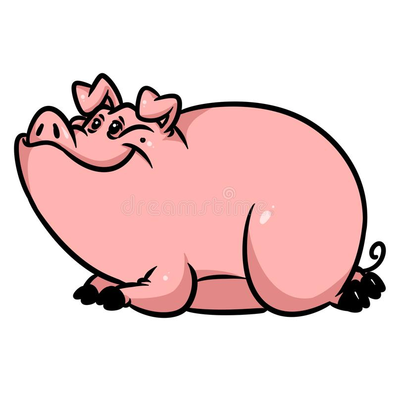 Big fat pig lies resting animal character cartoon illustration royalty free stock photography