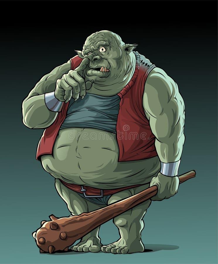 Big fat troll in forest vector illustration