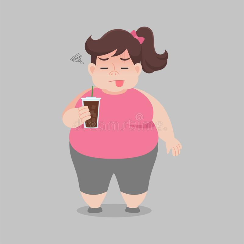 Big Fat woman drinking black coffee for slender body vector illustration
