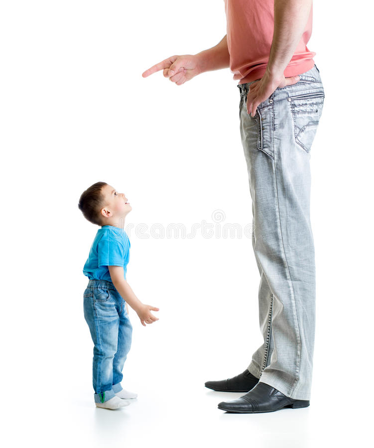 Big father educating his small son stock photography
