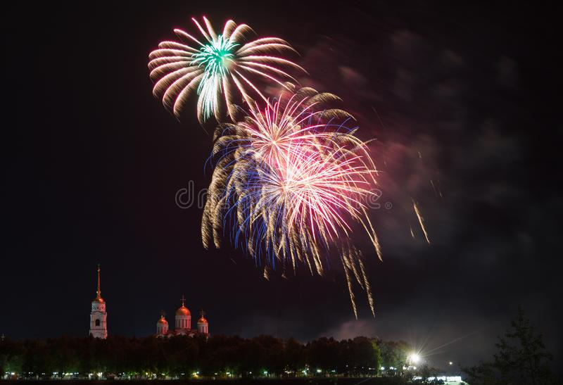 Big festive fireworks. Over the Assumption Cathedral in Vladimir, Russia royalty free stock photography