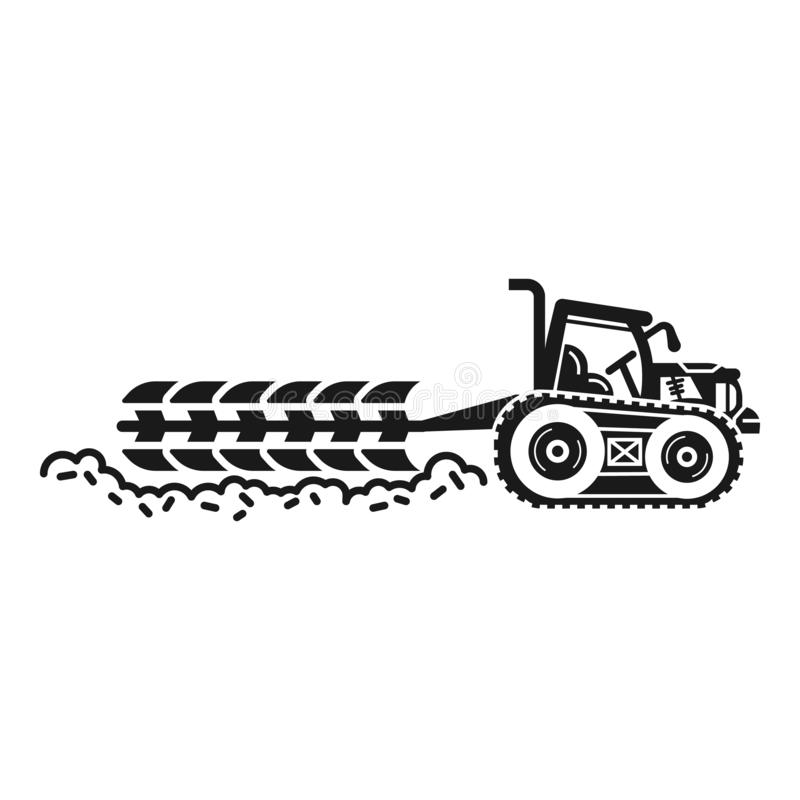 Big field tractor icon, simple style vector illustration