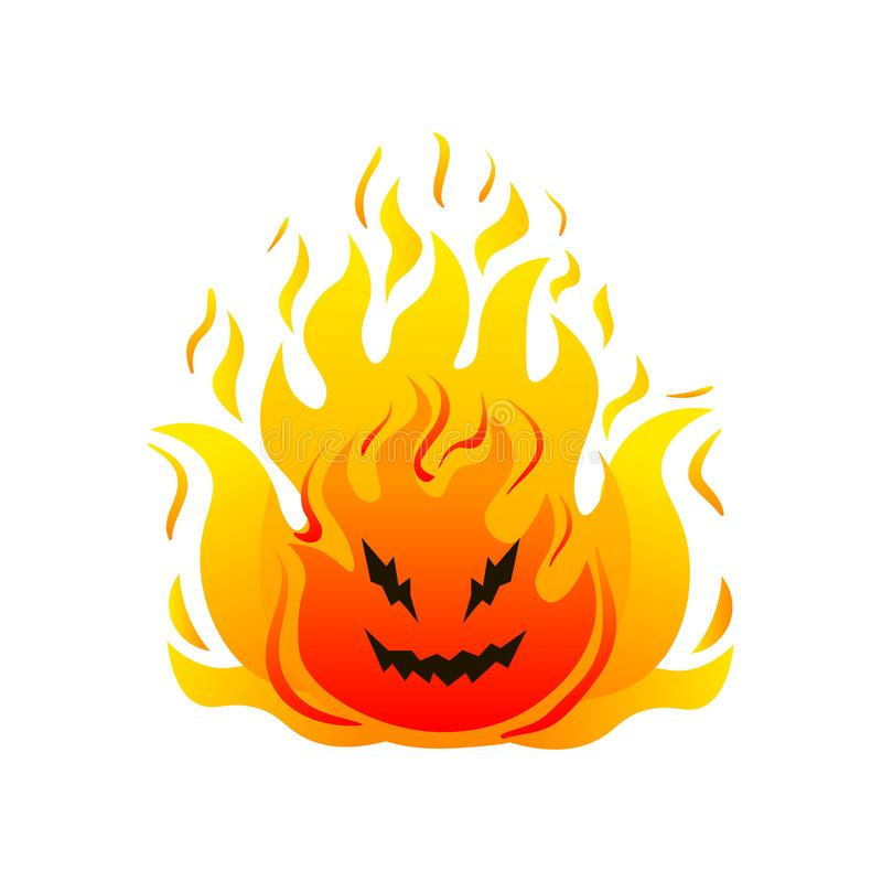 Big fire cheerful monster high hot flames. Comic character. Cartoon style. Vector illustration on white background stock illustration