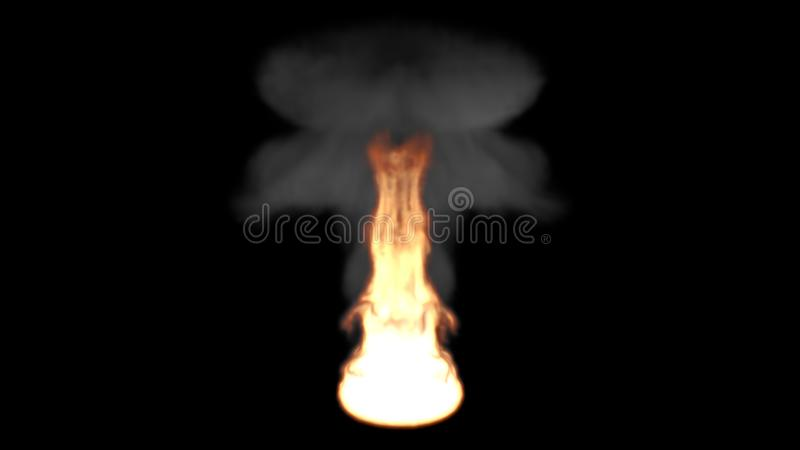 Big Fire Flame with a Mushroom Shape Dark Smoke stock illustration