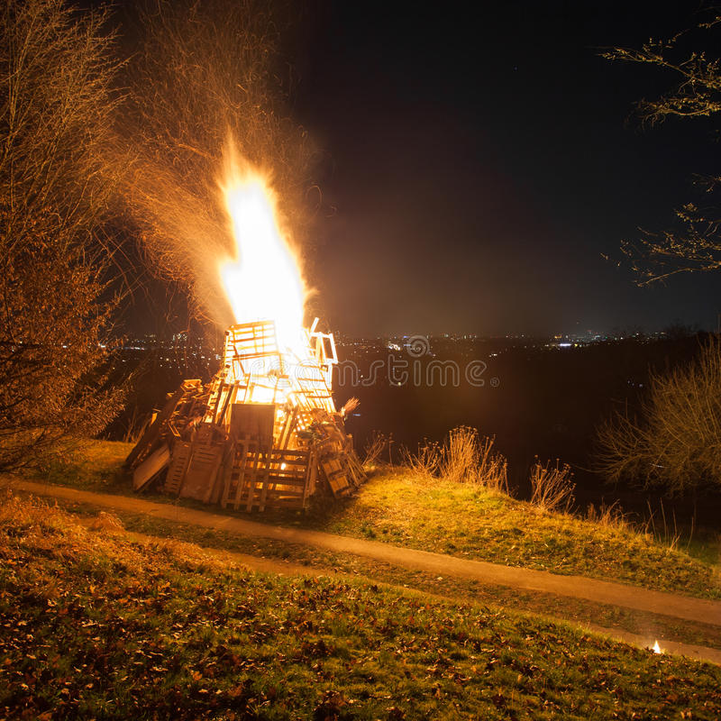 Big fire. On hill above city royalty free stock image