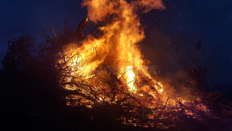Big fire. On night sky royalty free stock photography