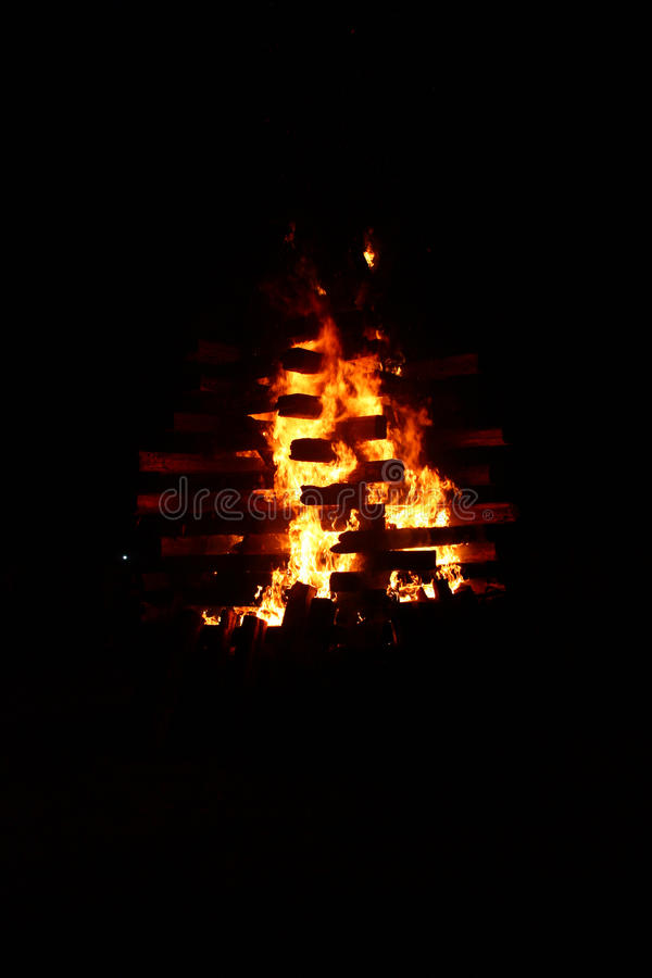 The big fire at night. royalty free stock photos