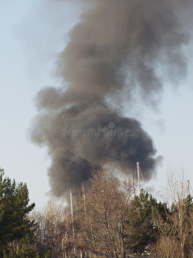 Big fire smoke cloud royalty free stock image