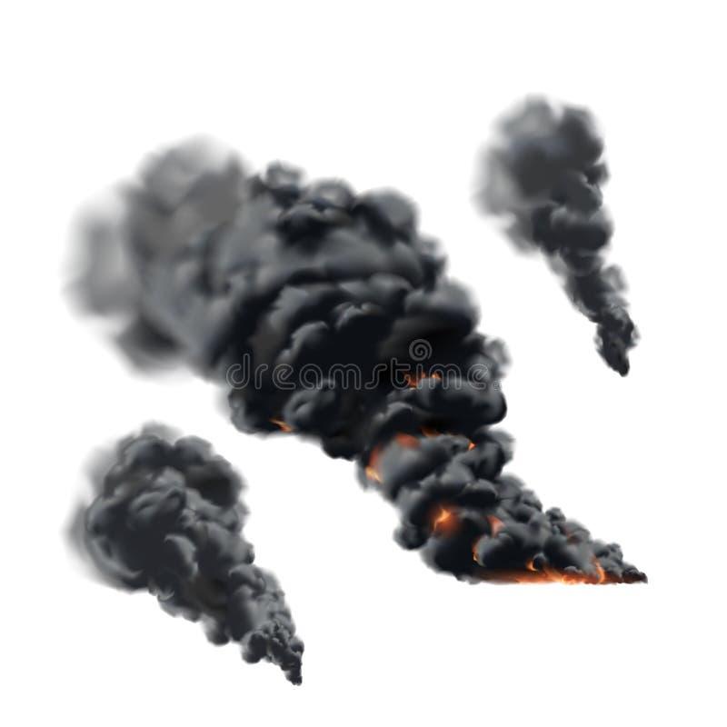 Big fire smoke set royalty free illustration