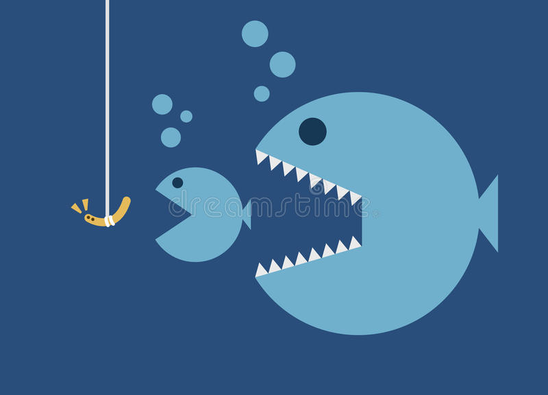Big fish eat little fish hook and worm bait stock vector for Big fish eat little fish