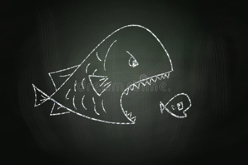 Big Fish Eating Small Fish royalty free illustration